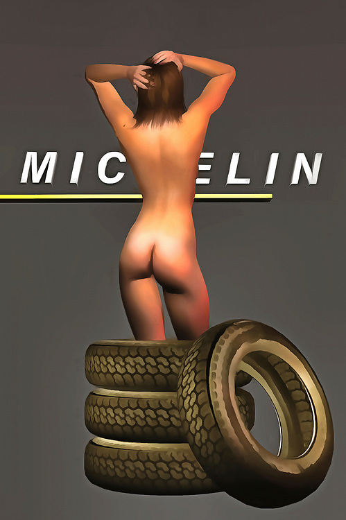 Michelin Tires have been driving Americans and others for the past several generations. Their name is instantly recognizable. It is one of the most enduring brands in the history of modern advertising. This remarkable fine art example combines that brand with a beguiling nude woman. There are tires that go up to her knees, and the Michelin logo is prominently displayed, as well. This piece can be ideal for a wide number of spaces, and it is a perfect gift for anyone who appreciates the concept of pop art. This piece expresses a number of interesting things to the viewer. .<br />