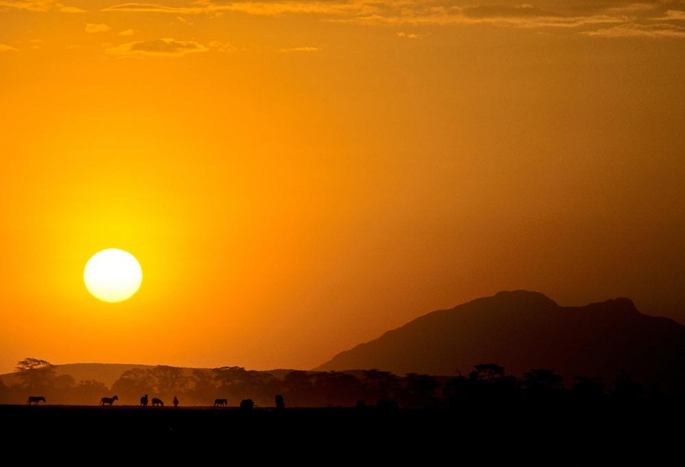 A breathtaking sunset on the grassland.