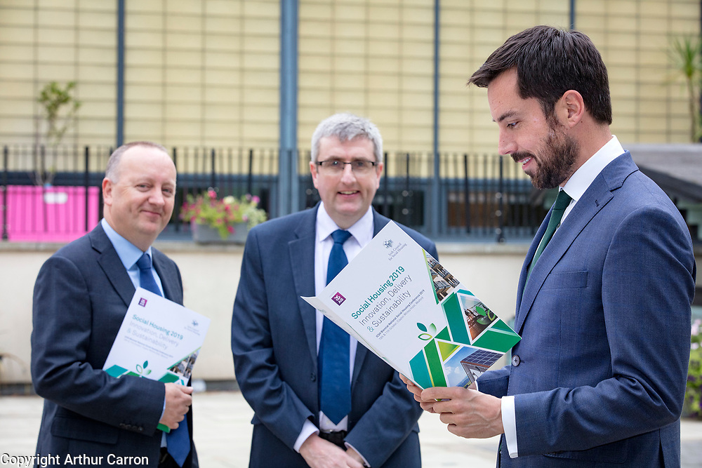 NO FEE PICTURES                                                                                                                                              10/10/19.Minister Eoghan Murphy with Pat Doyle, ICSH President and Donal McManus, Chairman ICSH at the Irish Council for Social Housing (ICSH) Biennial Finance and Development Conference 2019 at the Clayton Whites Hotel, Wexford 10-11 October. The two-day conference brings together 300 delegates including active housing associations, currently facing the challenge of growing their housing stock and making it more environmentally sustainable. At the event, stakeholders from the public, not-for-profit and private sectors will discuss how collaboration and innovation can develop the sector's capacity to build more sustainable and climate resilient communities.Picture: Arthur Carron