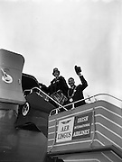 "06/12/1960<br /> 12/06/1960<br /> 06 December 1960<br /> Inaugural flight of new Irish Boeing Jetliner ""Padraig"" to New York. Image shows the Lord Mayor of Dublin, Maurice E. Dockrell, T.D. and the Lady Mayoress, Mrs Dockrell boarding the aircraft at Dublin Airport."