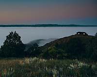 Stone Overlook and Fog covered Little Missouri River at Dawn. Image taken with a Nikon D300 camera and 18-200 mm VR lens (ISO 280, 18 mm, f/3.5, 1/60 sec)