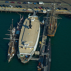 Aerial views of Maritime Museum in  San Diego's Waterfront District,