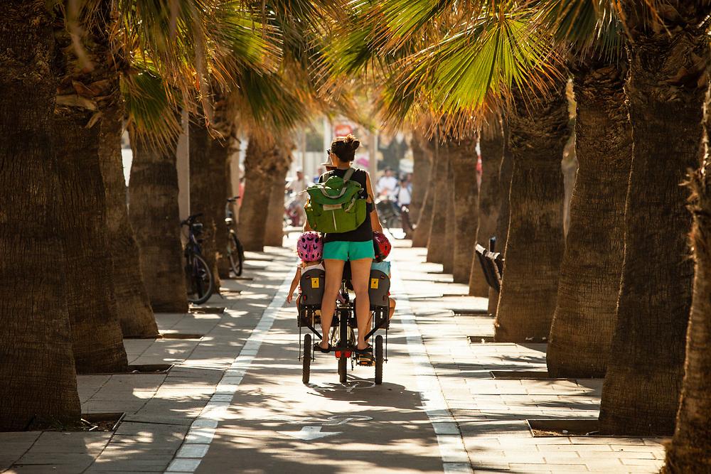 People make their way towards the beach as they pass a row of palm trees in Tel Aviv's Merkaz Hair neighborhood