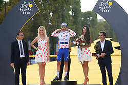 France's Julian Alaphilippe celebrates his overall best climber's polka dot jersey on the podium after the 21st and last stage of the 105th edition of the Tour de France cycling race between Houilles and Paris Champs-Elysees, in Paris, France, on July 29, 2018. Photo by Eliot Blondet/ABACAPRESS.COM