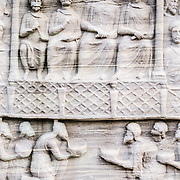Engravings of figures on the side of the Obelisk of Theodosius. Erected in 390 AD, it is at the heart of the Hippodrome next to the Blue Mosque in Istanbul's Sultanahment district.