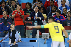 (l-r) James Rodriguez of Colombia, Radamel Falcao Garcia of Colombia during the 2018 FIFA World Cup Russia round of 16 match between Columbia and England at the Spartak stadium  on July 03, 2018 in Moscow, Russia