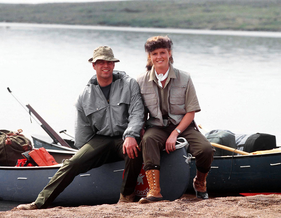 The Duke and Duchess of York seen during a canoeing trip into the Canadian tundra in North-West Canada in July 1987. photograph by Jayne Fincher