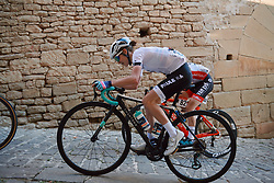 Niamh Fisher-Black (NZL) battles up the cobbled climb at the 2020 Clasica Feminas De Navarra, a 122.9 km road race starting and finishing in Pamplona, Spain on July 24, 2020. Photo by Sean Robinson/velofocus.com