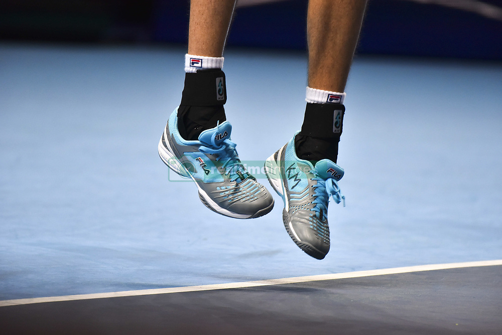 November 16, 2018 - London, United Kingdom - John Isner of the US is seen in action during his round robin match against Alexander Zverev of Germany during Day Six of the Nitto ATP Finals at The O2 Arena on November 16, 2018 in London, England. (Credit Image: © Alberto Pezzali/NurPhoto via ZUMA Press)