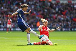 Hannah Blundell of Chelsea Ladies clears the ball under pressure - Mandatory byline: Jason Brown/JMP - 14/05/2016 - FOOTBALL - Wembley Stadium - London, England - Arsenal Ladies v Chelsea Ladies - SSE Women's FA Cup