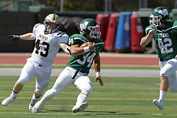 09 September 2017:  Nick Harcar, Landen Thieman , Mike Connolly during an NCAA division 3 football game between the Nebraska Wesleyan PRAIRIE WOLVES and the Illinois Wesleyan Titans in Tucci Stadium on Wilder Field, Bloomington IL