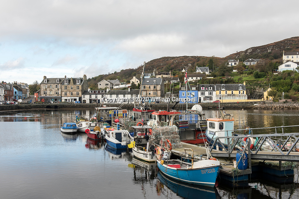 The village of Tarbert along the East Loch Tarbert in Kintyre souther Scotland.