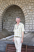 Tihomir Prusina, the oenologist. In front of the grape reception area. Vinarija Citluk winery in Citluk near Mostar, part of Hercegovina Vino, Mostar. Federation Bosne i Hercegovine. Bosnia Herzegovina, Europe.