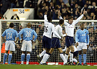 Photograph: Scott Heavey.<br />Tottenham Hotspur v Manchester City. Carling Cup. 03/12/2003.<br />Darren Anderton celebrates his 6th minute opener