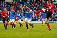 Alfredo Morelos gets whacked with the ball during the Ladbrokes Scottish Premiership match between Rangers and Kilmarnock at Ibrox, Glasgow, Scotland on 16 March 2019.
