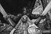 French guiana, ipoussing.<br /> <br /> Exploitation aurifere mecanisee, lances a eau.<br /> On cherche ici les paillettes d'or contenues dans le sol. On creuse d'abord des fosses au fond desquelles les ouvriers travaillent la couche de graviers auriferes qu'ils prelevent au moyen de pelles mecaniques.  Le contenu des pelles est depose sur une table inclinee puis lave par les lances a eau.