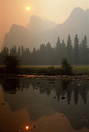A smoke-filled sky in Yosemite National Park during the 1989 fires that closed the park for several days.