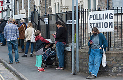 © Licensed to London News Pictures; 06/05/2021; Bristol, UK. Polling queue for local elections at Tudor Road polling station as people vote during the local and regional elections for Bristol elected city Mayor, Bristol city council, Avon & Somerset police and crime commissioner, and West of England Combined Authority Mayor. Photo credit: Simon Chapman/LNP.