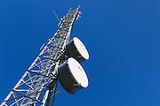 microwave parabolic dish antenna radio link on lattice tower in Tara, Queensland, Australia <br /> <br /> Editions:- Open Edition Print / Stock Image