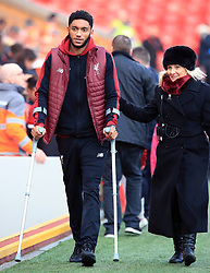 Liverpool's Joe Gomez arrives for the Premier League match at Anfield, Liverpool.