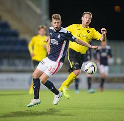 Falkirk's Rory Loy and  Livingston Burton O'Brien. <br /> Falkirk 0 v 0  Livingston, Scottish Championship game played 21/10/2014 at The Falkirk Stadium.