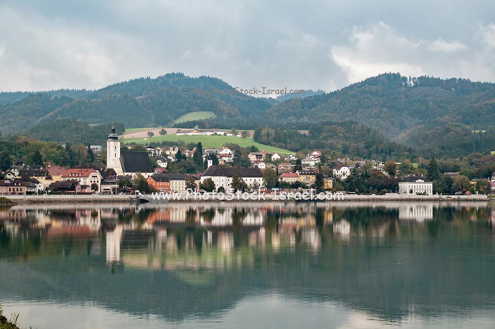 Cityscape of Melk, Austria as seen from across the Danube river