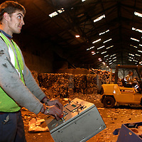 Island Waste, waste and rubbish disposal, waste processor control room, processing area, Isle of Wight, England, UK