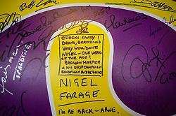 A tribute to Nigel Farage on a Ukip signature and mood board at the Ukip conference, Bournemouth.