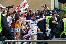"Several hundred far right protesters in central London demand the release of ""political prisoner"" right wing talisman Stephen Yaxley-Lennon  - also known as Tommy Robinson, who was imprisoned for contempt of court. London, August 03 2019."