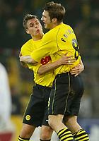 Fotball - UEFA Champions League<br /> 12.03.2003<br /> Borussia Dortmund v Lokmotiv Moskva<br /> Sebastian Kehl og Torsten Frings - Dortmund<br /> Foto: Uwe Speck, Digitalsport