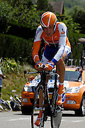 France, Talloire, 23 July 2009: Joost Posthuma (Ned) Rabobank on the Côte de Bluffy during Stage 18 - a 40.5 km Annecy to Annecy individual time trial. Photo by Peter Horrell / http://peterhorrell.com .