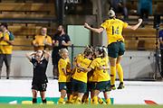 The Matildas celebrate after scoring and Besty Hassett reacts during the Cup of Nations Women's Football match, New Zealand Football Ferns v Matildas, Leichhardt Oval, Thursday 28th Feb 2019. Copyright Photo: David Neilson / www.photosport.nz