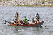 Drift boat fishing on the Madison River near Bozeman, Montana