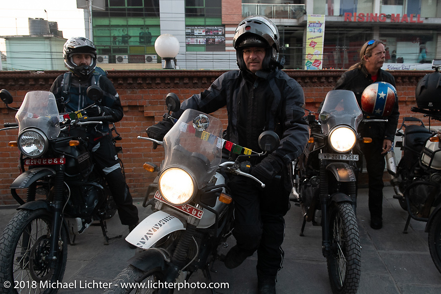 Kiwi Mike Tomas on the first morning of our Himalayan Heroes adventure before riding out from Kathmandu, Nepal. Tuesday, November 6, 2018. Photography ©2018 Michael Lichter.