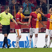 Galatasaray's Milan BAROS (2ndR) celebrate his goal with team mate during their Turkish Super League soccer match Galatasaray between Kasimpasaspor at the TT Arena at Seyrantepe in Istanbul Turkey on Monday 09 May 2011. Photo by TURKPIX