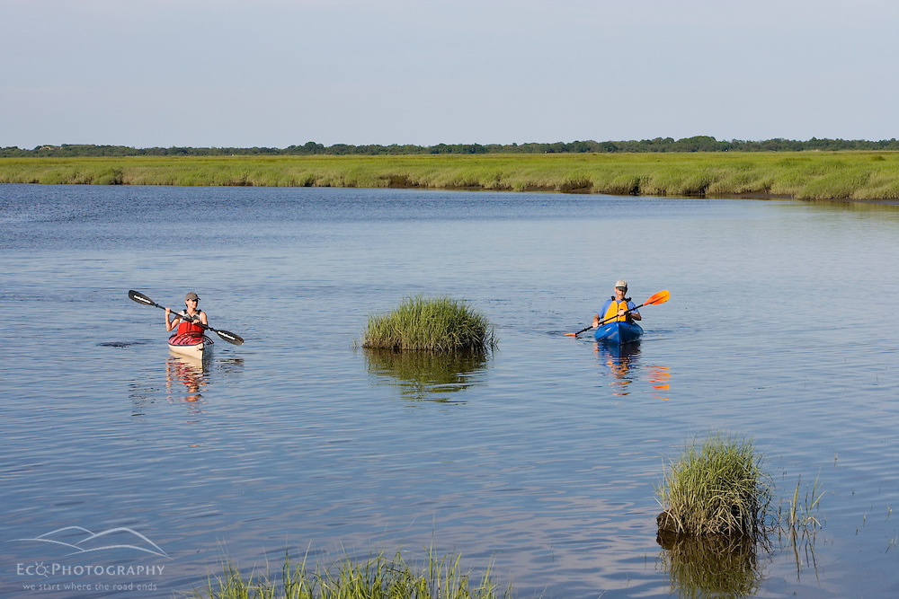 Kayaking in the tidal estuary in Plum Island Sounds.  Sawyer's Island, Rowley, Massachusetts.