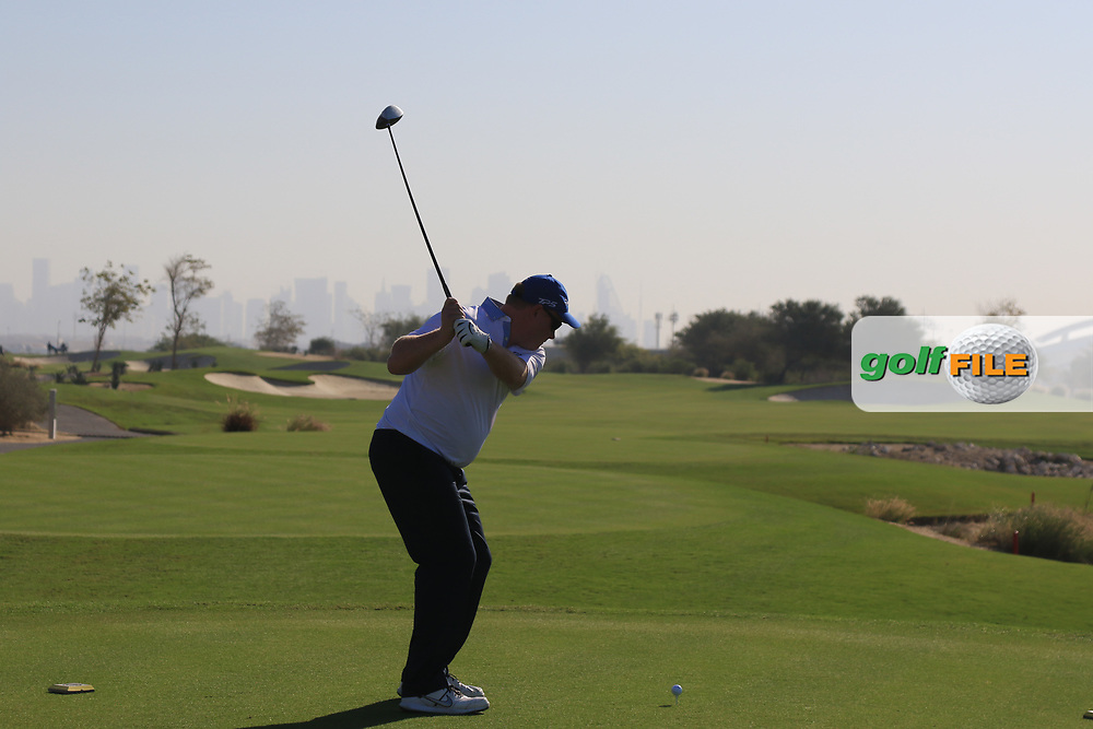 Playing with Thomas Pieters (BEL) on the 2nd during the Pro-Am of the Commercial Bank Qatar Masters 2020 at the Education City Golf Club, Doha, Qatar . 04/03/2020<br /> Picture: Golffile | Thos Caffrey<br /> <br /> <br /> All photo usage must carry mandatory copyright credit (© Golffile | Thos Caffrey)