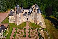 France, Cher (18), Berry, Chateau de Blancafort, vue aérienne, route Jacques Coeur // France, Cher (18), Berry, Chateau de Blancafort castle, aerial view, the Jacques Coeur road