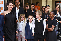 """(L-R) Angelina Jolie, Vivienne Marcheline Jolie-Pitt, Knox Leon Jolie-Pitt, Shilo Jolie-Pitt and Zahara Jolie-Pitt attend the """"First They Killed My Father"""" Premiere on day five of the 2017 Toronto International Film Festival at Princess of Wales Theatre in Toronto, Ontario, Canada, on September 11, 2017. (Photo by Anthony Behar/Sipa USA)"""