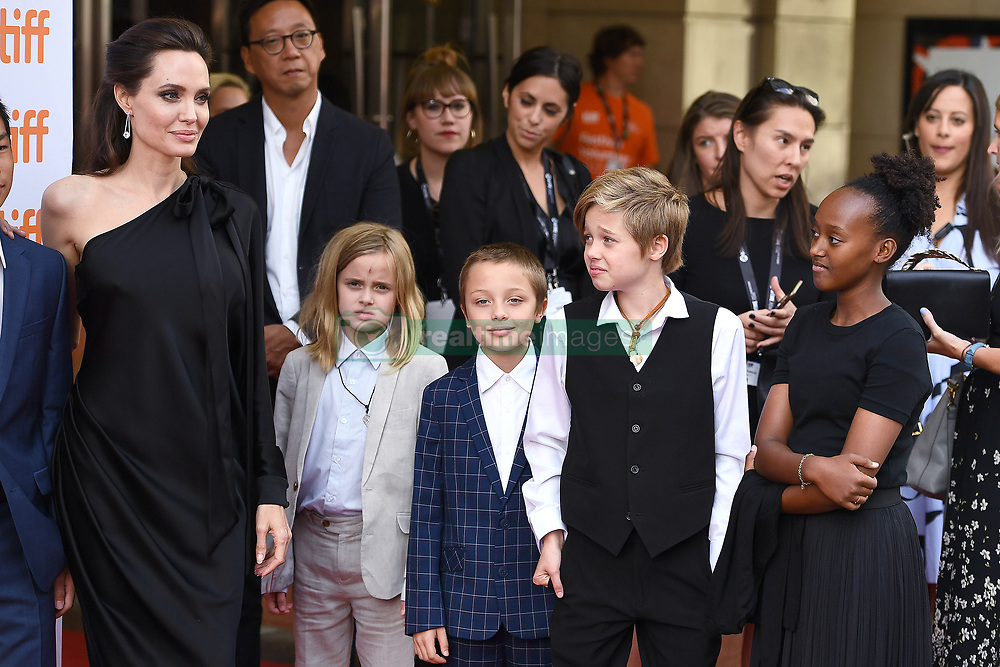 "(L-R) Angelina Jolie, Vivienne Marcheline Jolie-Pitt, Knox Leon Jolie-Pitt, Shilo Jolie-Pitt and Zahara Jolie-Pitt attend the ""First They Killed My Father"" Premiere on day five of the 2017 Toronto International Film Festival at Princess of Wales Theatre in Toronto, Ontario, Canada, on September 11, 2017. (Photo by Anthony Behar/Sipa USA)"
