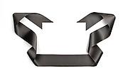 Black streamer ribbon on white background