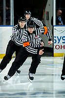 KELOWNA, BC - MARCH 6: Referee Bryan Bourdon leads officials onto the ice for third period at the Kelowna Rockets against the Seattle Thunderbirds at Prospera Place on March 6, 2020 in Kelowna, Canada. (Photo by Marissa Baecker/Shoot the Breeze)