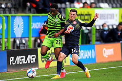 Udoka Godwin-Malife of Forest Green Rovers jostles with Jack Aitchison of Stevenage- Mandatory by-line: Nizaam Jones/JMP - 17/10/2020 - FOOTBALL - innocent New Lawn Stadium - Nailsworth, England - Forest Green Rovers v Stevenage - Sky Bet League Two