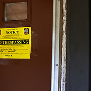 COLUMBIA, SOUTH CAROLINA - JANUARY 27: A NO TRESSPASSING sign can be seen on each of the doors at Allen Benedict Court Columbia, SC on January 27, 2020. Residents were told in July 2019 they had to vacate the housing complex after 2 people died of carbon monoxide poisoning.   (Photo by Logan CyrusforThe Washington Post)