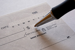 July 21, 2019 - Cheque With Pen (Credit Image: © Colette Scharf/Design Pics via ZUMA Wire)