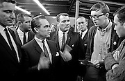 Modesto, California November 22, 1967.Modesto Junior College Students ask the Governor questions..Former Alabama Governor George Wallace came to California in an attempt to put his American Independent Party candidacy on the 1968 ballot.  In Modesto his appearance was held at the Sandpiper Steak House on McHenry Ave.  The Governor's entourage was 25 or so people.   Thirteen of the staff were Alabama State Police and the others were campaign workers including several lawyers and one Judge.  .