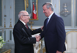 November 10, 2018 - Carthage, Tunisia - Handshake with EST chairman Hamdi Maddeb .....The president of the republic Beji Caid Essebsi received at Carthage Palace the delegation of Esperance Sportive de Tunis (EST) after his victory by 3-0 against Al Ahly of Egypt in the final of the League of African CAF Champions Total (Credit Image: © Chokri Mahjoub/ZUMA Wire)