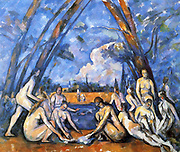 Les Grandes Baigneuses'  (The Bathers),  898-1905, first exhibited 1906. Oil on canvas. Largest of series of 'Bathers'. Paul Cezanne (1839-1906) French Post-Impressionist artist. Nude Male Female Landscape River Blue