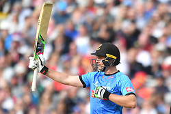 Sussex Sharks' Luke Wright celebrates scoring 50 not out during the Vitality T20 Blast Semi Final match on Finals Day at Edgbaston, Birmingham.