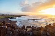 Ninole Cove, black sand beach, Ka'ie'ie Heiau , Punaluu, Kau, The Big Island of Hawaii